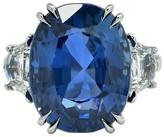 Platinum 20.42ct Unheated Burma Sapphire & Diamonds Ring Size 6.5