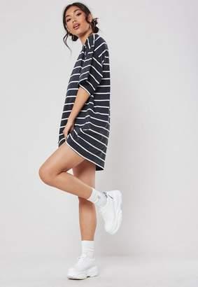 Missguided Navy Oversized Stripe T Shirt Dress