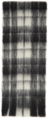 Saint Laurent Black and White Tartan Small Scarf