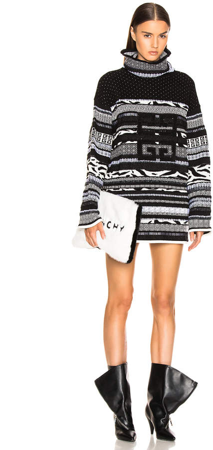 4G Stitched Printed Oversized Turtleneck Sweater in White &