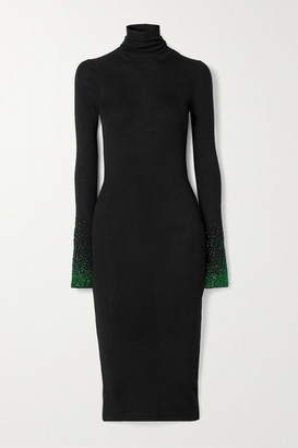 Loewe Embellished Ribbed Wool Turtleneck Dress - Black