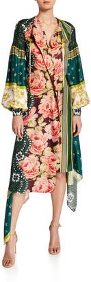 Oscar de la Renta Patchwork Striped Twill Asymmetric Dress