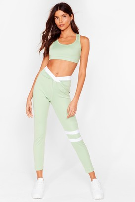 Nasty Gal Womens Stripe All Along High-Waisted Workout Leggings - Black - S