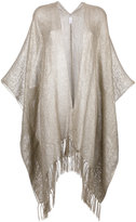 Brunello Cucinelli frayed cape - women - Linen/Flax/Polyamide/Polyester - One Size