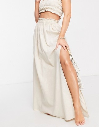 ASOS DESIGN frill edge co-ord maxi beach skirt in stone