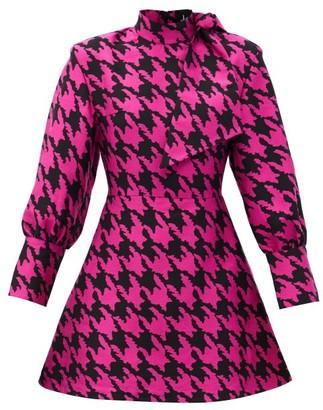 Elzinga - Neck-tie Houndstooth-jacquard Mini Dress - Black Pink