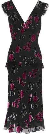 Anna Sui Lace-Trimmed Devoré Crepe Dress