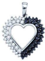 0.52ctw Black & White Round Diamond Heart Pendant