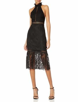 ABS by Allen Schwartz Women's Detailed Halter Lace Dress with Mermaid Hem