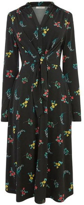 Oasis Floral Tie Front Midi Dress