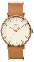 Timex Weekender Fairfield Slip Thru Leather Strap Watch - Rose Gold/Brown TW2P91200JT