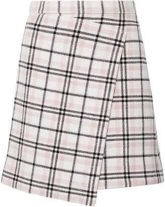 Carven Wrap-effect Checked Wool-blend Mini Skirt