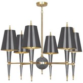 Jonathan Adler Jonathan 6 - Light Shaded Tiered Chandelier Finish: Ash Lacquered Paint/Matte Gold Lining, Shade Color: Antique Brass/Natural Linen