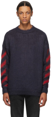 Off-White Navy Mohair Diag Sweater