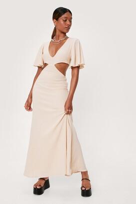 Nasty Gal Womens Cut Out Wide Sleeve Maxi Dress - Orange - 12