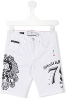 Philipp Plein skull print denim shorts - kids - Cotton/Spandex/Elastane - 12 yrs