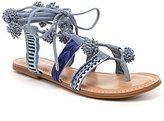 Gianni Bini Jeronimo Lace-Up Pom-Pom Flat Woven Sandals