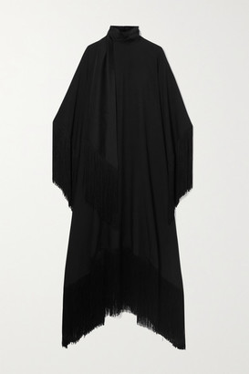 Taller Marmo Mrs Ross Fringed Crepe Kaftan - Black