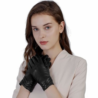 GSG Women Leather Gloves Warm Ladies Motorcycle TouchScreen Driving Gloves Flower Printed - black - Large