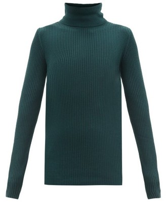 Joseph Roll-neck Ribbed Merino Wool Sweater - Mid Blue