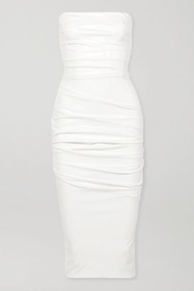 Alex Perry Decon Strapless Ruched Stretch-vinyl Dress - White