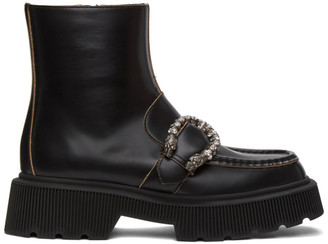 Gucci Black Tiger Head Buckle Boots