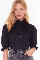 Nasty Gal Womens Broken-Hearted Pearl Puff Sleeve Cropped Blouse - black - 10, Black