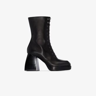 Nodaleto Black Bulla 85 Lace-Up Leather Boots