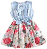 TRURENDI Girls Princess Summer Beach Flower Denim Jeans Bow One-piece Dress
