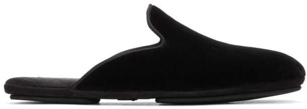 Dolce & Gabbana Black Velvet Slip-On Loafers