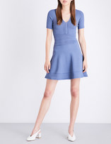 Sandro Scalloped-trim fit-and-flare knitted dress