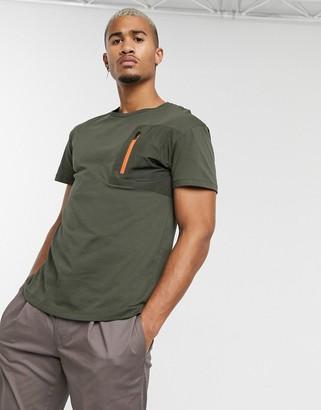 Jack and Jones Originals zip pocket t-shirt in khaki-Green