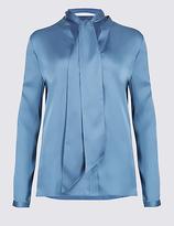 Classic Satin Notch Neck Long Sleeve Shirt