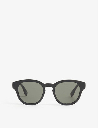Le Specs Grass Band round-frame recycled plastic sunglasses