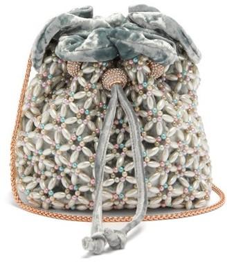 Sophia Webster Emmie Beaded Velvet Bucket Bag - Blue Multi