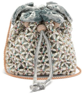 Sophia Webster Emmie Beaded Velvet Bucket Bag - Womens - Blue Multi