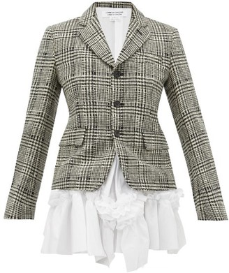 Comme des Garcons Ruffled Poplin Panel Checked Wool Jacket - Womens - Black White