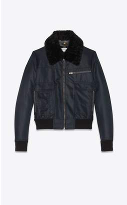 Saint Laurent Aviator Bomber Jacket In Nylon With Shearling Collar