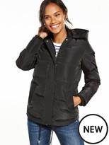 Very Hooded Short Padded Coat - Black
