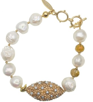Farra Edison Pearl With Rhinestones Bordered Pearls Bracelet