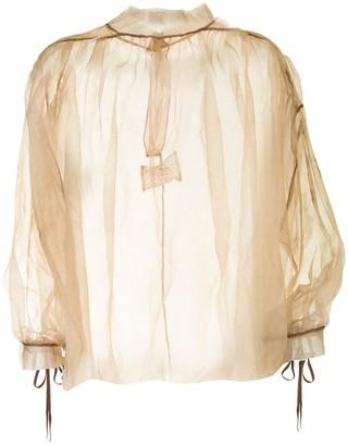Peng Tai Tie-Sleeve Sheer Blouse