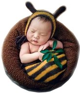 Vemonllas Fashion Newborn Baby Boy Girl Crochet Knitted Photography Props Bee Hat Sleeping Bag