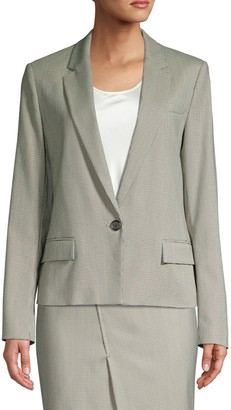 HUGO BOSS Jasaela Wool-Blend One-Button Houndstooth Jacket