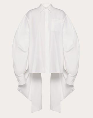 Valentino Technical Poplin Shirt Women White Cotton 75%, Polyester 25% 38