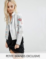 Glamorous Petite Metallic Faux Leather Biker Jacket With Floral Embroidery