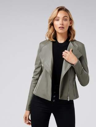 Ever New Nina Vegan Leather Collarless Biker Jacket