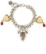 Alexander McQueen heart locket charm bracelet