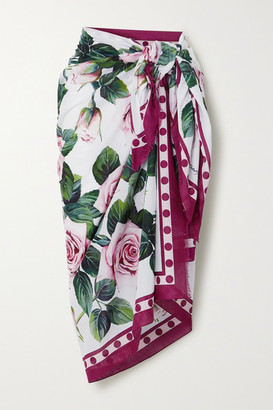 Dolce & Gabbana Fringed Floral-print Cotton-voile Pareo - White