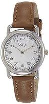 Burgi Women's BUR121SSBR Classic Two-hand Silver & Light Brown Leather Strap Watch
