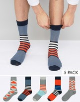 Jack & Jones 5 Pack Patterned Socks